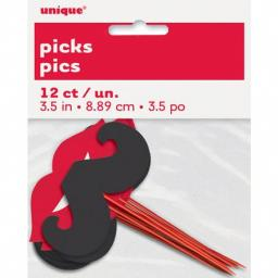 Lips and Mustache Cupcake Picks 12-Count