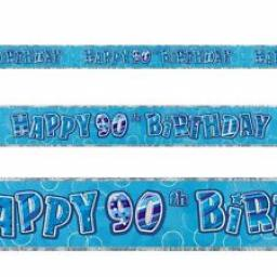 Blue Prizmatic H 90th Birthday Banner 3.6M