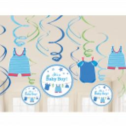 With Love Boy Baby Shower Swirl Decorations