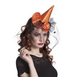 Orange Witchs Hat With Veil