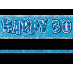 Blue Prizmatic H 30th Birthday Banner 2.74m