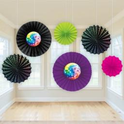 70s Disco Paper fan Decorations 6pcs