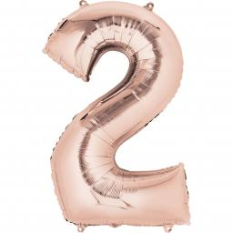 "Rose Gold Number 2 SuperShape Foil Balloons 20""/50cm w x 35""/88cm"
