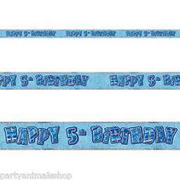 Blue Prizmatic H 5th Birthday Banner 3.6m