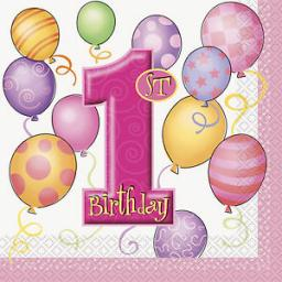 1St Birthday Pink Balloons Theme Paper Party Napkins 16ct 2ply