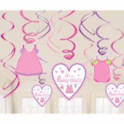With Love Girl Baby Shower Swirl Decorations