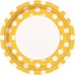 Round Plates 8.5 inch 8ct Sunflower Yellow Dots