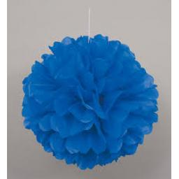 Puff Ball Paper Decoration 16 inch Blue