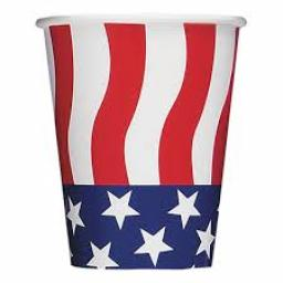 American Flag Party Paper Cups 8pcs 9oz