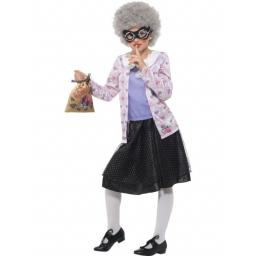 David Walliams Deluxe Gangsta Granny Costume, Purple & Black, with Top, Skirt, Wig, Eyemask, Bag, Pearl Necklace & Glasses