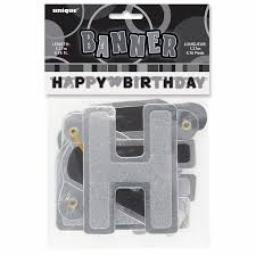 Black Glitz Happy Birthday Letter Banner 1.27m