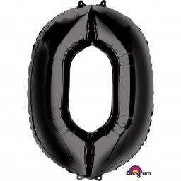 "Number 0 Black SuperShape Foil Balloons 26""/66cm x 34""/86cm"