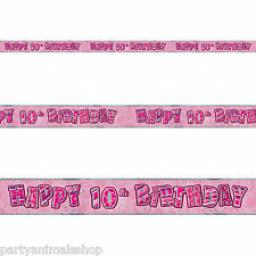 Pink Glitz Happy 10th Birthday Banner 3.6M