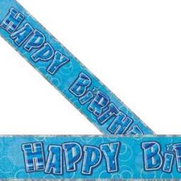 Blue Prizmatic Happy Birthday Banner 2.74m