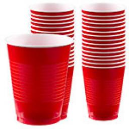 Plastic Cups 12oz Apple Red 20pcs
