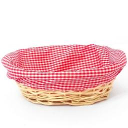 30cm Oval Gingham Cloth Lined Basket Red