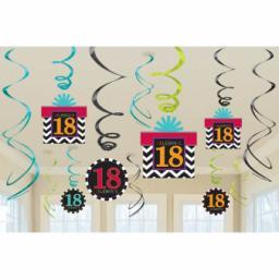 18th Celebrate Swirls Decorations Pack of 12