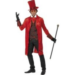 Dracula Costumes red with Jacket- LARGE