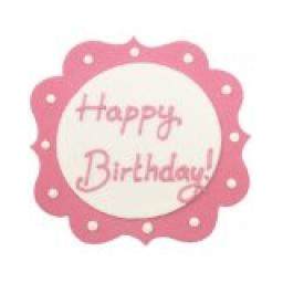 1 Perfectly Pink Happy Birthday Sugarcraft Plaque