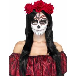 Day of the Dead Headband with Red Roses