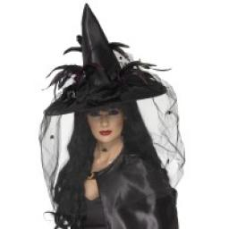 Black Deluxe Witch Hat Feathers and Netting