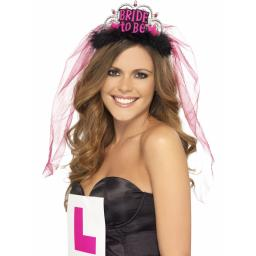 Bride To Be Tiara with Veil with Pink Lettering