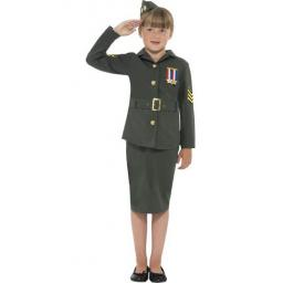 WW2 Army Girl Costume Large Size Age 10-12
