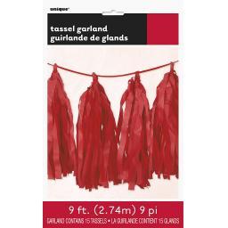 9ft Tissue Paper Red Tassel Garland
