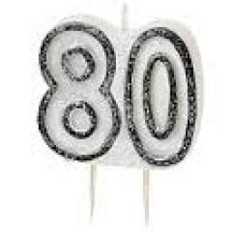 Glitz Black Numeral 80 Candle
