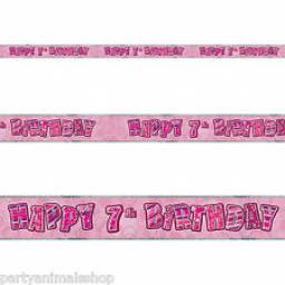 Pink Glitz Happy 7th Birthday Banner 3.6m