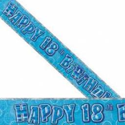 Blue Prizmatic H 18th Birthday Banner 3.6m