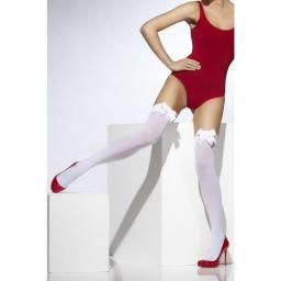 Fever Opaque Hold-Ups With White Bow