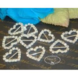 Diamante Heart Ribbon Buckle 5 pcs in pack