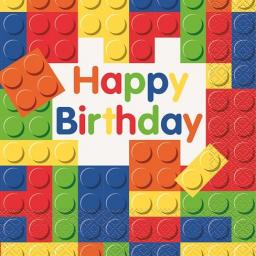 Building Blocks Birthday 33cm Napkins 2ply 16ct