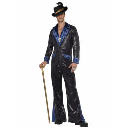 Pimp Daddy Costume Black with jacket & Trousers