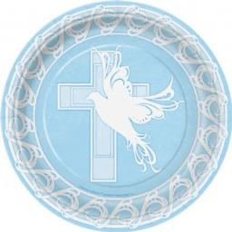 Dove Cross Blue Paper Plates 8x9inch
