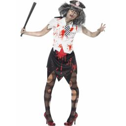Zombie Police Woman Skirt Shirt Tie and Hat