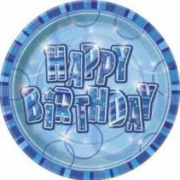 Blue Glitz Happy Birthday Party Paper Plates 8pcs 9inch