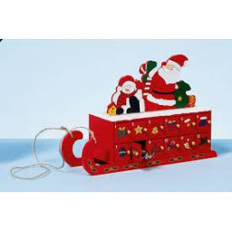 36cm Wooden Sleigh Advent with Santa