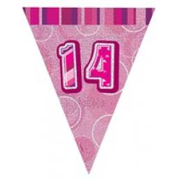 Pink Glitz Flag Banner 14th Birthday 9Ft Long