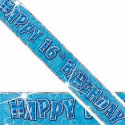 Blue Prizmatic H 16th Birthday Banner 3.6m