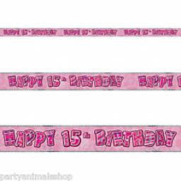 Pink Glitz Happy 15th Birthday Banner 3.6m