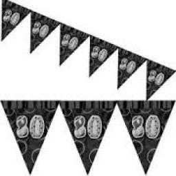Prismatic Flag Banner 80th Birthday Black 3.6m