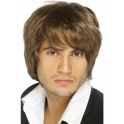 BOY BAND WIG BROWN SHORT DISPLAY BOX