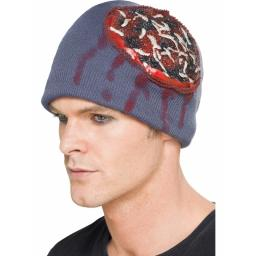 Beanie Hat with Exposed Brain and Latex Maggots