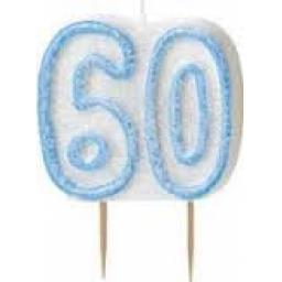 Glitz Blue Numeral 60 Candle