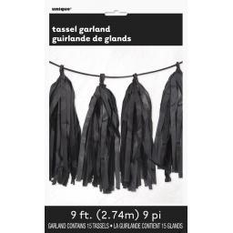 9ft Tissue Paper Black Tassel Garland garland includes 15 tassels
