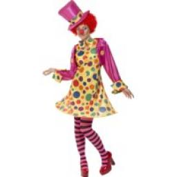Clown Lady Hooped Dress Shirt Bow Tie Tights&Hat