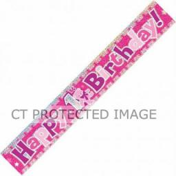 First Birthday Banner Pink & Silver 3.65M