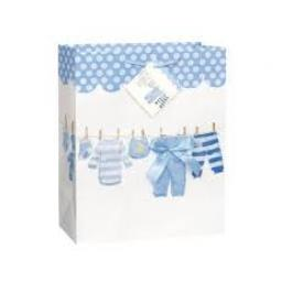 Blue Bow Clothesline Girl Baby Shower Gift Bag